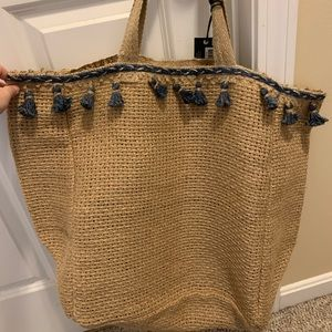 Large woven beach tote